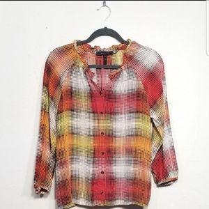 BCBGmaxazria 100% silk button up blouse size Small